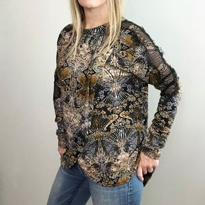 FREE PEOPLE Tulip Front Top with Lace Sleeve sz S